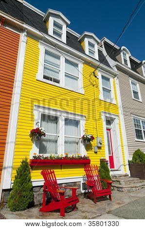 Brightly painted clapboard houses in the city of St John's, Newfoundland, Canada.