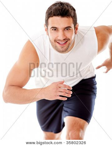 Man running - isolated over a white background