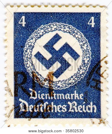 GERMANY - CIRCA 1937: A stamp printed in Germany showing swastika , circa 1937