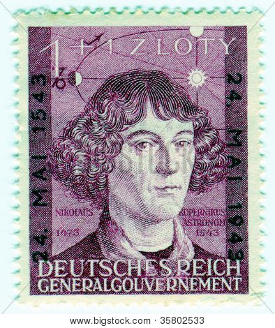 GERMANY - CIRCA 1943: A stamp printed in Nazi German Governorate of Poland  of Polish astronomer  Nicolas Copernicus , circa 1943