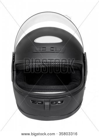 Black motorcycle helmet