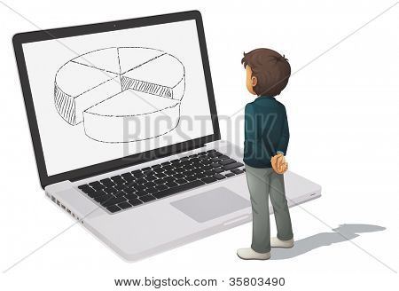 illustration of man looking at pie chart on computer screen