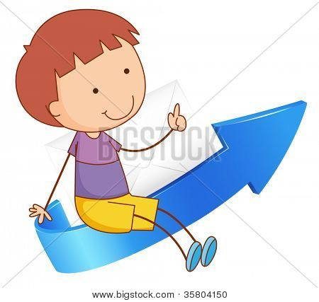 illustration of a boy sitting on arrow on a white