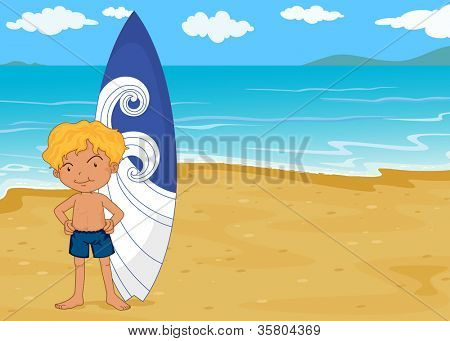 illustration of a boy with surf pad on a sea shore