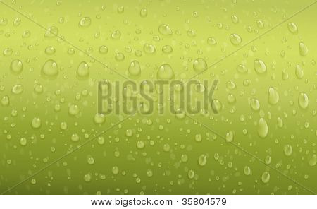 illustration of water drops on a green background
