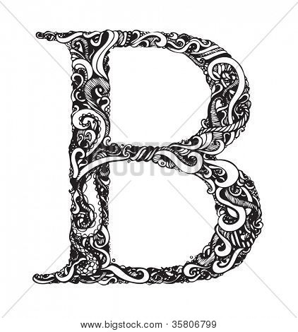 Capital Letter B - Calligraphic Vintage Swirly Style / Hand Drawn / One Element - Color Change Easy / Vector