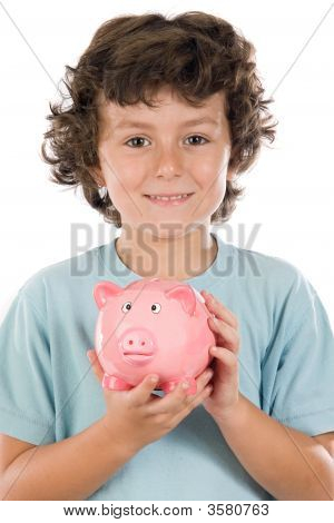 Adorable Boy With Pink Piggy Bank