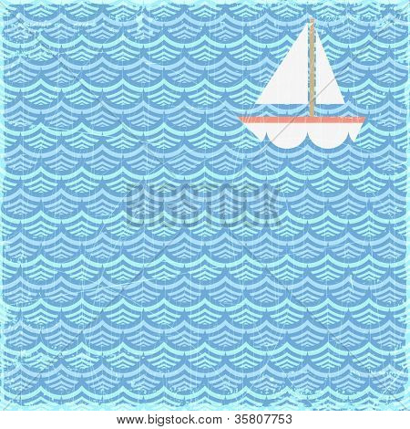 Grunge summer banner with sailing boat, vector eps10 illustration