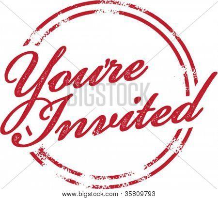 You're Invited Invitation Rubber Stamp