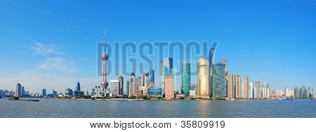 Shanghai skyline panorama with skyscrapers and blue clear sky over Huangpu River.