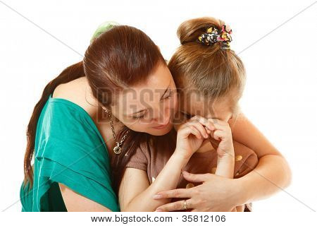mother console her crying daughter, isolated on white background