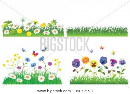 Grass And Flower Set.  Isolated On White Background, Vector Illustration