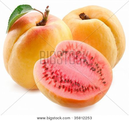 Flesh apricot cut ripe watermelon. Product of genetic engineering. Computer assembly.