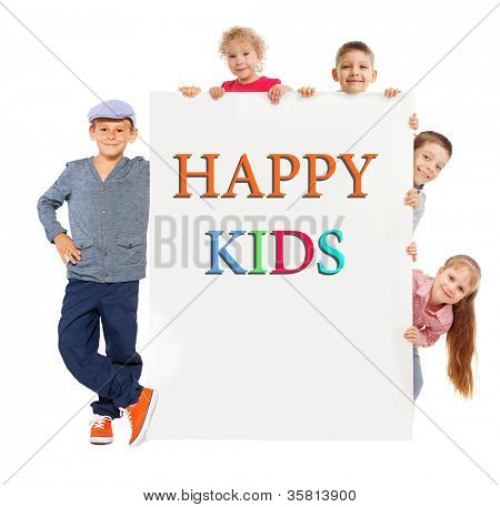 Kids with placard isolated on white. Group children with banner