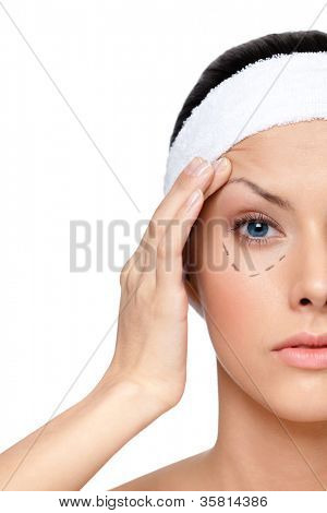 Starting a facelift, left part of a face, isolated, white background