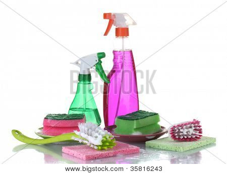 Washing dishes. Cleaning products isolated on white background