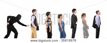 People waiting in a que and a pickpocket trying to steal a wallet isolated on white background