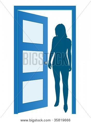 Blue opened door with woman's silhouette, vector