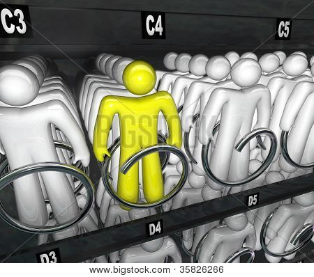 Many people in a snack vending machine symbolizing choice and selection and standing apart as different and unique to be chosen and get a job or be picked