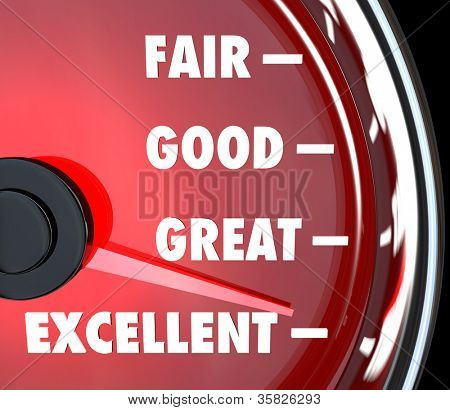 A red speedometer with needle rising past words Fair, Good, Great and Excellent to symbolize improvement and success