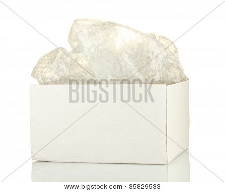 Opened parcel isolated on white