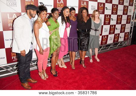 LOS ANGELES, CA - JUNE 20: Members of the cast pose at the Los Angeles Film Festival premiere of 'Middle of Nowhere' at Regal Cinemas L.A. LIVE 1 on June 20, 2012 in Los Angeles, California.