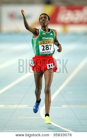 BARCELONA - JULY 10: Yigrem Demelash of Ethiopia during 10000 Metres event of the 20th World Junior Athletics Championships at the Olympic Stadium on July 10, 2012 in Barcelona, Spain