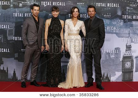 BERLIN, GERMANY - AUGUST 13: Colin Farrell, Jessica Biel, Kate Beckinsale, Len Wiseman at the German premiere of 'Total Recall' at Sony Center on August 13, 2012 in Berlin, Germany