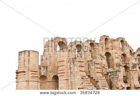 Detail of ancient Roman amphitheater in El-Jem isolated on white