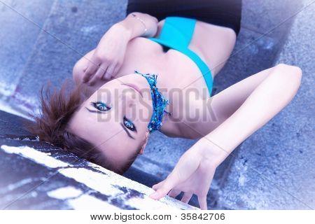 Beautiful Futuristic Young Woman In Blue