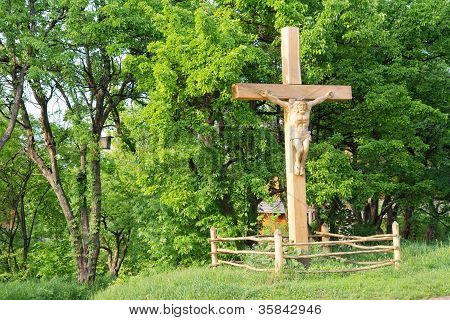 Jesus Crucifixion On Wooden Cross