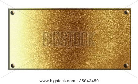 Golden Plaque On A Solid White Background
