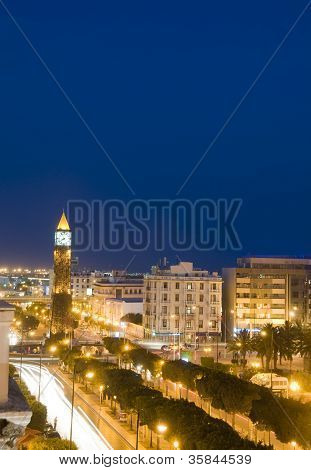 Clock Tower Avenue Habib Bourguiba Ville Nouvelle Tunis Tunisia Africa  Car  Night Light Streaks