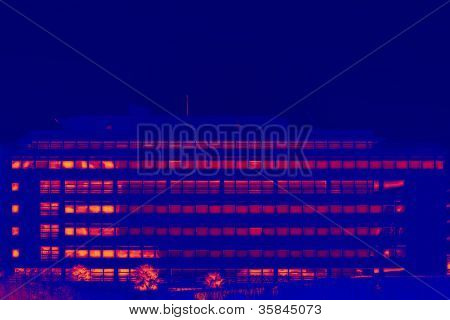 Glassy Office Building In Thermal Imaging Simulation