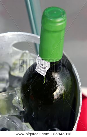 Wine Bottle On Ice Chiller