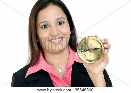 Woman Holding A Compass