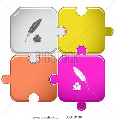 Feather and ink bottle. Raster puzzle. Vector version is in portfolio.