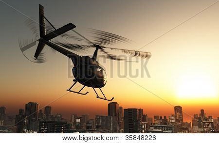 Civilian helicopter in the sky.