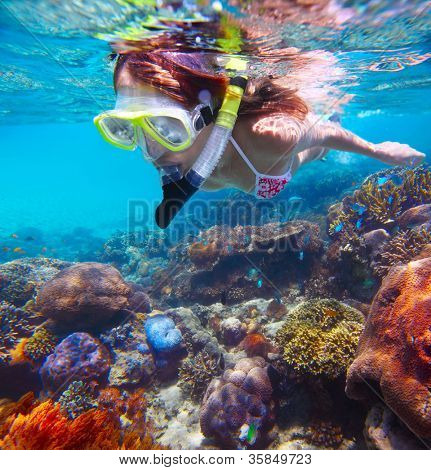 Young woman snorkeling in a tropical clear sea over vivid coral reef