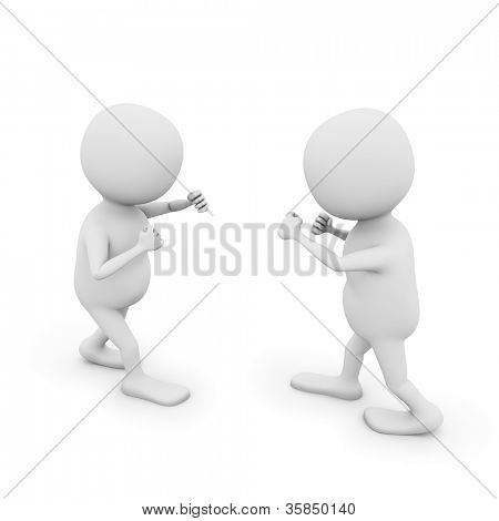 Two 3D white men in fighting position isolated on white backgrund.