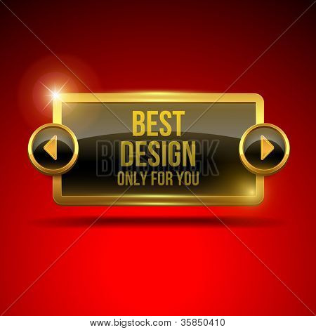 Black display screen with golden frame and arrows on red silk background