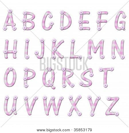 Pink Gingham And Flower Alphabet Letters