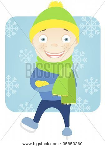 Cartoon Character Cute Teenager Isolated on White Background. Skater. Vector EPS 10.