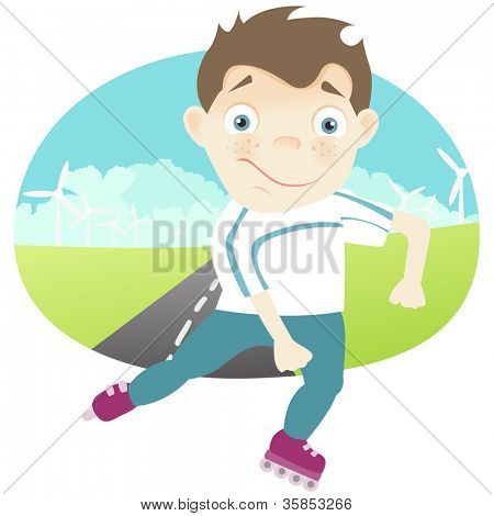 Cartoon Character Cute Teenager Isolated on White Background. Roller. Vector EPS 10.