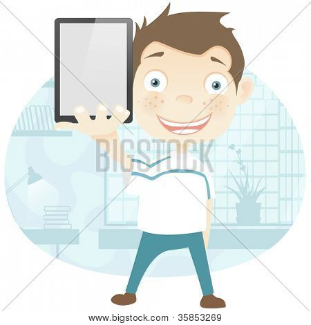 Cartoon Character Cute Teenager Isolated on White Background. Empty hand. Vector EPS 10.
