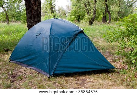 tent in tourist camp in green forest