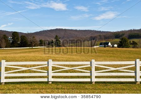 Farmland with White Fence Foreground
