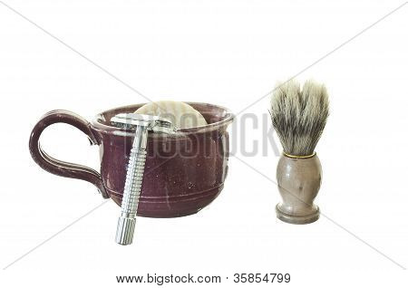Old Fashioned Shaving Kit with Mug, Brush, and Razor