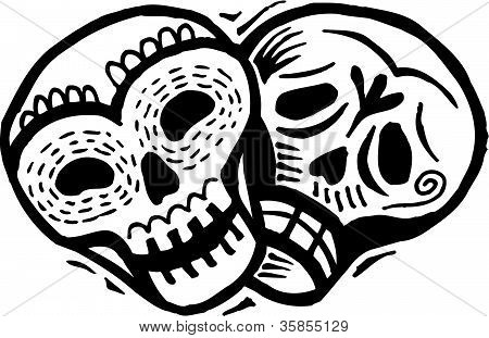A Black And White Drawing Of Two Skulls With Happy And Sad Expressions