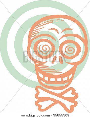 Orange Schädel mit target